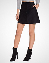 New Look Suedette Popper Front Skirt