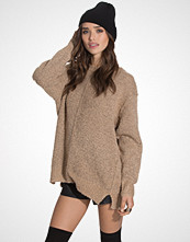New Look Boucle Knit Seam Front Slouch Jumper