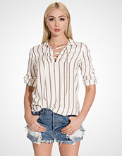 Miss Selfridge Variated Stripe Lace Up Shirt