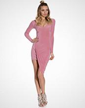 Club L Plunge Neck Ruched Detail Dress