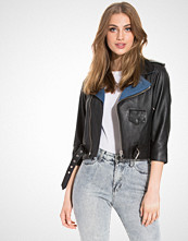 Calvin Klein Nara Mixed Media Leather Jacket