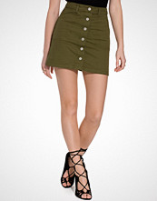 Miss Selfridge Khaki Button Through Skirt