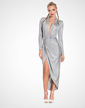 John Zack Metallic Drape Maxi Dress