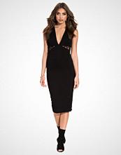 Club L Essentials V-Neck Midi Lace Panel Dress