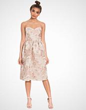 Miss Selfridge Beige Floral Jacquard Midi Dress