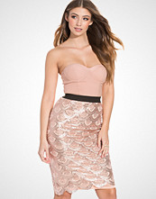 Rare London Scallop Sequin Bustier Midi Dress