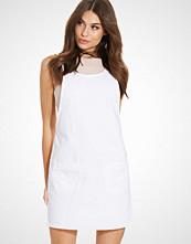 New Look White Denim Double Pocket Pinafore Dress