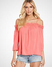 New Look Mid Pink Crochet Trim Cold Shoulder Top
