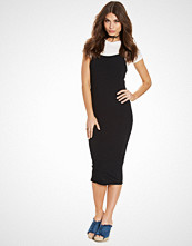 New Look Black Ribbed 2 in 1 Midi T-Shirt Dress