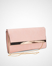 New Look Pink Snakeskin Textured Clutch