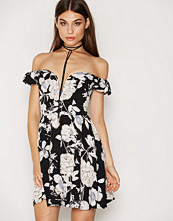 Rare London Floral Bardot Plunge Skater Dress