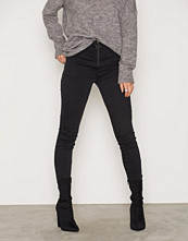 New Look Black Zip Front Washed Skinny Jeans