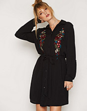 New Look Embroidered Front Tie Shirt Dress