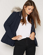 New Look Navy Faux Fur Trim Hooded Parka