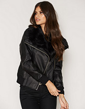 New Look Faux Fur Collar Pu Bomber