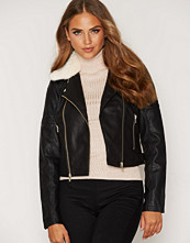 Miss Selfridge Black Cream Fur Collar Biker Jacket