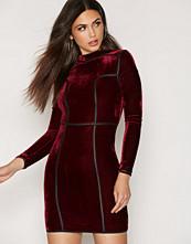 Rare London Long Sleeve High Neck Velvet Dress