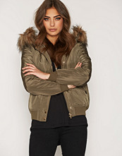New Look Hooded Faux Fur Padded Bomber