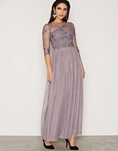 Little Mistress Grey Lace And Embroidered Maxi Dress