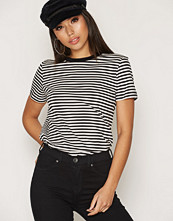 Selected Femme Svart Sfmy Perfect Ss Tee - Box Cut-Stri.
