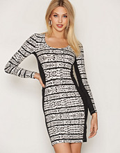 French Connection Mayan Stripe LS Scoop Neck Dress