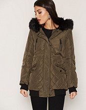 New Look Trim Quilted Longline Jacket