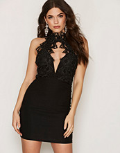 Rare London Scallop Lace Trim Bodycon Dress