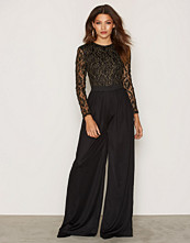 Rare London Long Sleeve Lace Jumpsuit Front Lining