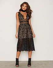 For Love & Lemons Noir Mon Cheri Midi Dress