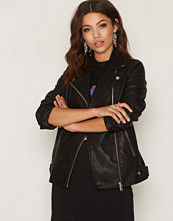 Miss Selfridge Black Oversized PU Biker Jacket