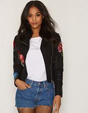 New Look Black Floral Embroidered Biker Jacket