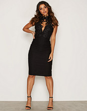 Rare London Scallop Lace Trim Midi Dress