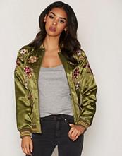 Miss Selfridge Dark Green Floral Bomber Jacket