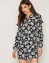 Miss Selfridge Black Flower Ruffle Shirt Dress