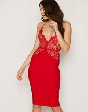 Rare London Red Scalloped Edge Midi Dress