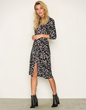 Miss Selfridge Black Print Floral Midi Shirt Dress