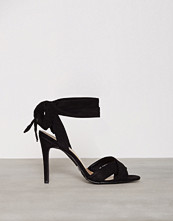 New Look Black Suedette Tie Up Heeled Sandals
