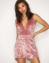 Missguided Pleated Velour Plunge Playsuit