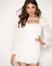 For Love & Lemons White Crema Silk Linen Dress