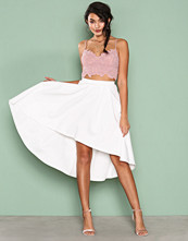 NLY One Hvit Pleated High Low Skirt