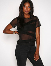 Missguided Black Mesh Asymmetric Ruffle Tee