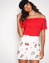 New Look White Floral Embroidered Twill Skirt