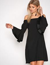 Glamorous Black Off Shoulder Flute Sleeve Dress