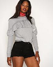 Missguided Black High Waisted Shredded Denim Shorts