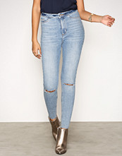 New Look Pale Blue Ripped Knee High Waist Skinny Jeans