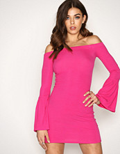 New Look Bright Pink Ribbed Bell Sleeve Bardot Neck Bodycon Dress