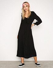 New Look Black Button Front Long Sleeve Midi Dress