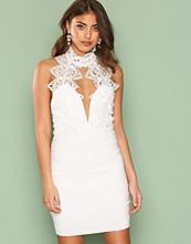 Rare London White High Neck Plunge Lace Mini Dress