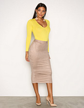 NLY One Beige Suede Look Midi Skirt