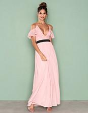 Rare London Pink Lace Top Contrast Skirt Maxi Dress